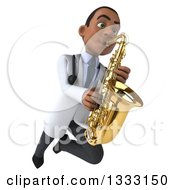 Clipart Of A 3d Young Black Male Doctor Flying With A Saxophone Royalty Free Illustration