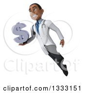 Clipart Of A 3d Young Black Male Doctor Flying With A Dollar Currency Symbol Royalty Free Illustration