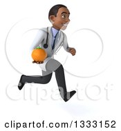 Clipart Of A 3d Young Black Male Nutritionist Doctor Sprinting To The Right Adn Holding A Navel Orange Royalty Free Illustration
