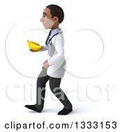 Clipart Of A 3d Young Black Male Nutritionist Doctor Walking To The Left And Holding A Banana Royalty Free Illustration