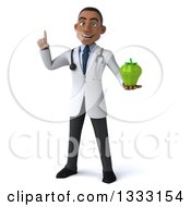 Clipart Of A 3d Young Black Male Nutritionist Doctor Holding Up A Finger And A Green Bell Pepper Royalty Free Illustration