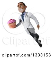 Clipart Of A 3d Young Black Male Nutritionist Doctor Holding A Pink Frosted Cupcake And Flying Royalty Free Illustration