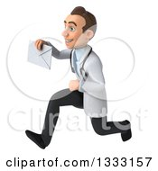 Clipart Of A 3d Young Brunette White Male Doctor Sprinting To The Left And Holding An Envelope Royalty Free Illustration