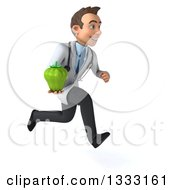 Clipart Of A 3d Young Brunette White Male Nutritionist Doctor Sprinting To The Right And Holding A Green Bell Pepper Royalty Free Illustration