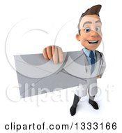 Clipart Of A 3d Young Brunette White Male Doctor Holding Up An Envelope Royalty Free Illustration