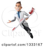 Clipart Of A 3d Happy Young Brunette White Male Dentist Flying Presenting And Holding A Giant Toothbrush Royalty Free Illustration by Julos