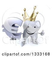 Clipart Of A 3d Happy Crowned Tooth Character Holding Up A Thumb And A Euro Currency Symbol Royalty Free Illustration