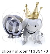 Clipart Of A 3d Happy Crowned Tooth Character Holding Up An Email Arobase At Symbol Royalty Free Illustration