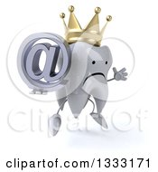 Clipart Of A 3d Unhappy Crowned Tooth Character Facing Slightly Right Jumping And Holding An Email Arobase At Symbol Royalty Free Illustration