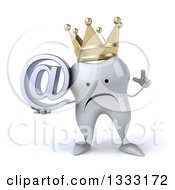 Clipart Of A 3d Unhappy Crowned Tooth Character Holding Up A Finger And An Email Arobase At Symbol Royalty Free Illustration