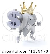 Clipart Of A 3d Happy Crowned Tooth Character Facing Slightly Right Jumping And Holding A Dollar Currency Symbol Royalty Free Illustration