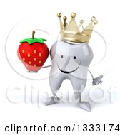 Clipart Of A 3d Happy Crowned Tooth Character Shrugging And Holding A Strawberry Royalty Free Illustration