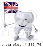 Clipart Of A 3d Happy Tooth Character Walking And Holding A British Union Jack Flag Royalty Free Illustration