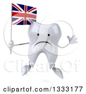 Clipart Of A 3d Unhappy Tooth Character Jumping And Holding A British Union Jack Flag Royalty Free Illustration