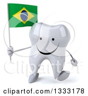 Clipart Of A 3d Happy Tooth Character Walking And Holding A Brazilian Flag Royalty Free Illustration