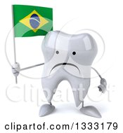 Clipart Of A 3d Unhappy Tooth Character Holding A Brazilian Flag Royalty Free Illustration