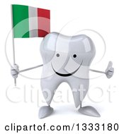 Clipart Of A 3d Happy Tooth Character Giving A Thumb Up And Holding An Italian Flag Royalty Free Illustration