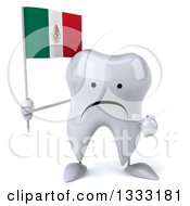 Clipart Of A 3d Unhappy Tooth Character Holding And Pointing To A Mexican Flag Royalty Free Illustration