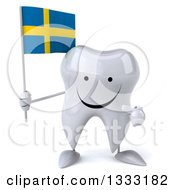 Clipart Of A 3d Happy Tooth Character Holding And Pointing To A Swedish Flag Royalty Free Illustration