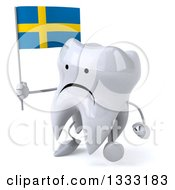 Clipart Of A 3d Unhappy Tooth Character Walking Slightly Left And Holding A Swedish Flag Royalty Free Illustration