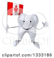 Clipart Of A 3d Happy Tooth Character Jumping And Holding A Canadian Flag Royalty Free Illustration