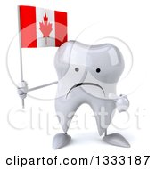 Clipart Of A 3d Unhappy Tooth Character Holding And Pointing To A Canadian Flag Royalty Free Illustration