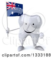 Clipart Of A 3d Happy Tooth Character Holding And Pointing To An Australian Flag Royalty Free Illustration