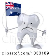 Clipart Of A 3d Unhappy Tooth Character Giving A Thumb Down And Holding An Australian Flag Royalty Free Illustration