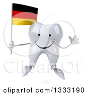 Clipart Of A 3d Happy Tooth Character Jumping And Holding A German Flag Royalty Free Illustration
