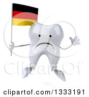 Clipart Of A 3d Unhappy Tooth Character Jumping And Holding A German Flag Royalty Free Illustration