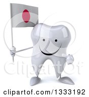 Clipart Of A 3d Happy Tooth Character Holding And Pointing To A Japanese Flag Royalty Free Illustration