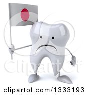 Clipart Of A 3d Unhappy Tooth Character Holding A Japanese Flag Royalty Free Illustration