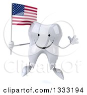 Clipart Of A 3d Happy Tooth Character Jumping And Holding An American Flag Royalty Free Illustration