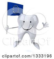 Clipart Of A 3d Happy Tooth Character Jumping And Holding A European Flag Royalty Free Illustration