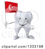 Clipart Of A 3d Happy Tooth Character Holding And Pointing To A Turkish Flag Royalty Free Illustration