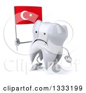 Clipart Of A 3d Unhappy Tooth Character Walking Slightly Left And Holding A Turkish Flag Royalty Free Illustration