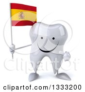 Clipart Of A 3d Happy Tooth Character Holding And Pointing To A Spanish Flag Royalty Free Illustration