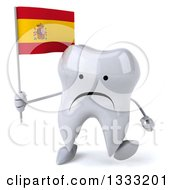 Clipart Of A 3d Unhappy Tooth Character Walking And Holding A Spanish Flag Royalty Free Illustration