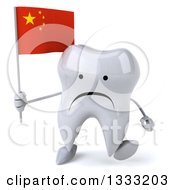 Clipart Of A 3d Unhappy Tooth Character Walking And Holding A Chinese Flag Royalty Free Illustration