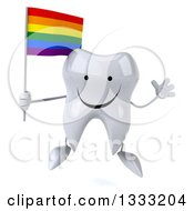 Clipart Of A 3d Happy Tooth Character Jumping And Holding A Rainbow Flag Royalty Free Illustration
