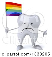 Clipart Of A 3d Unhappy Tooth Character Giving A Thumb Down And Holding A Rainbow Flag Royalty Free Illustration