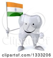 Clipart Of A 3d Happy Tooth Character Holding And Pointing To An Indian Flag Royalty Free Illustration