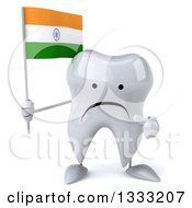 Clipart Of A 3d Unhappy Tooth Character Holding And Pointing To An Indian Flag Royalty Free Illustration