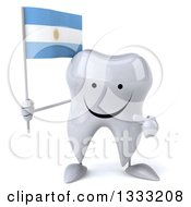 Clipart Of A 3d Happy Tooth Character Holding And Pointing To An Argentine Flag Royalty Free Illustration
