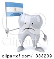 Clipart Of A 3d Unhappy Tooth Character Holding An Argentine Flag Royalty Free Illustration