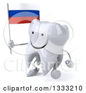 Clipart Of A 3d Happy Tooth Character Walking Slightly Left And Holding A Russian Flag Royalty Free Illustration