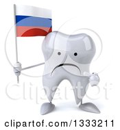 Clipart Of A 3d Unhappy Tooth Character Holding And Pointing To A Russian Flag Royalty Free Illustration
