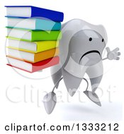 Clipart Of A 3d Unhappy Tooth Character Facing Slightly Right Jumping And Holding A Stack Of Books Royalty Free Illustration