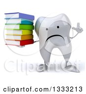 Clipart Of A 3d Unhappy Tooth Character Holding Up A Finger And A Stack Of Books Royalty Free Illustration