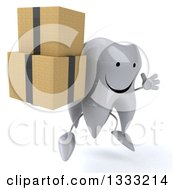 Clipart Of A 3d Happy Tooth Character Facing Slightly Right Jumping And Holding Boxes Royalty Free Illustration